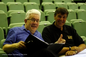 Poet Ian McMillan chats with Nick Childs in rehearsal at York Barbican