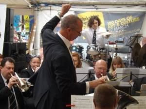 Kippax Brass Band give a lively performance in the Entertainment Marquee