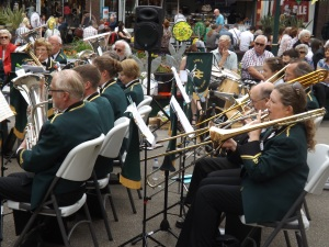 York RI Golden Rail Band in Coppergate (with Brassed On director Kate Lock on trombone)